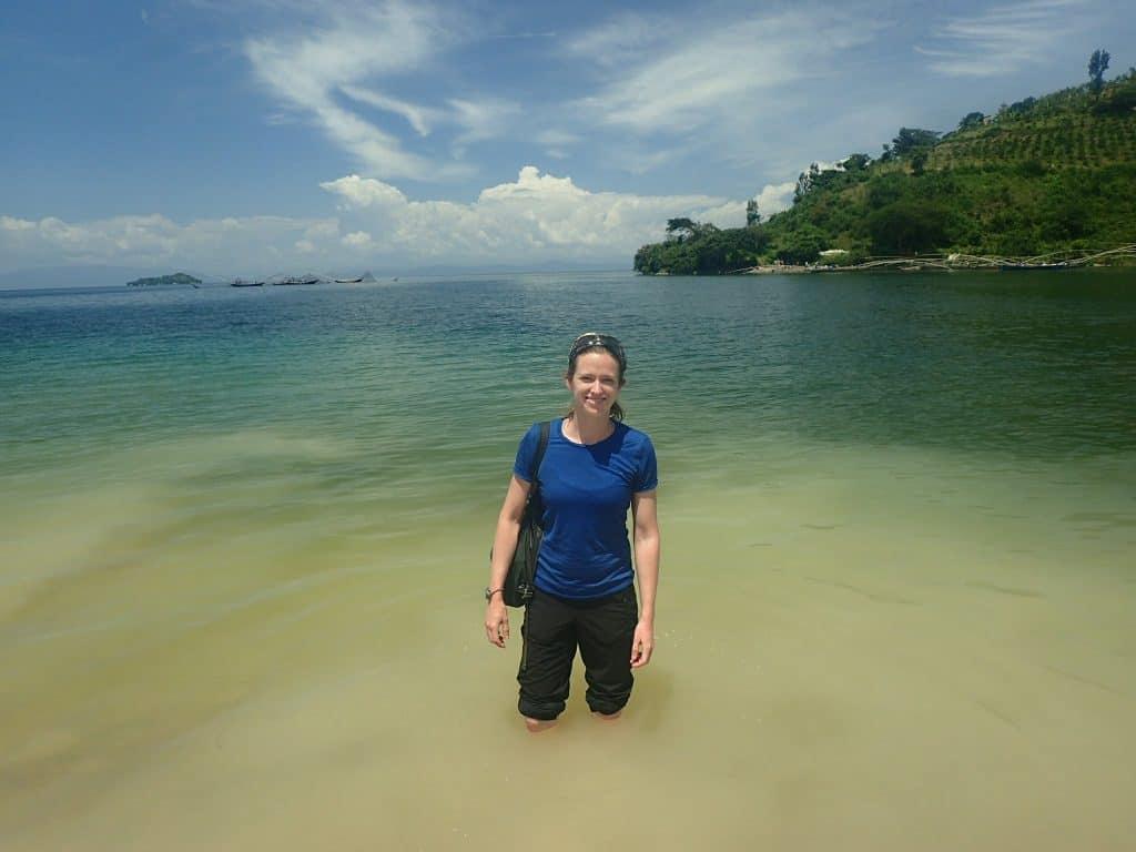 Cooling off in Lake Kivu while hiking the Congo Nile Trail in Rwanda