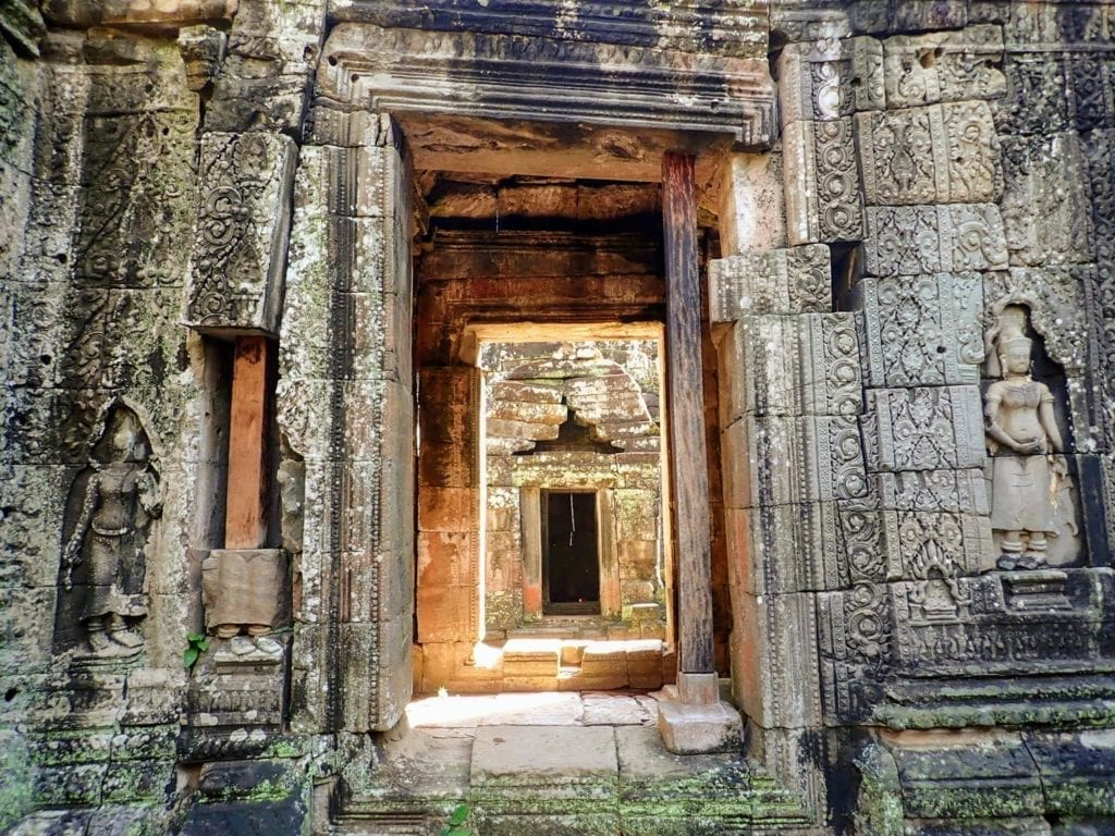Ruined temple door at Angkor Archaeological Park, Siem Reap
