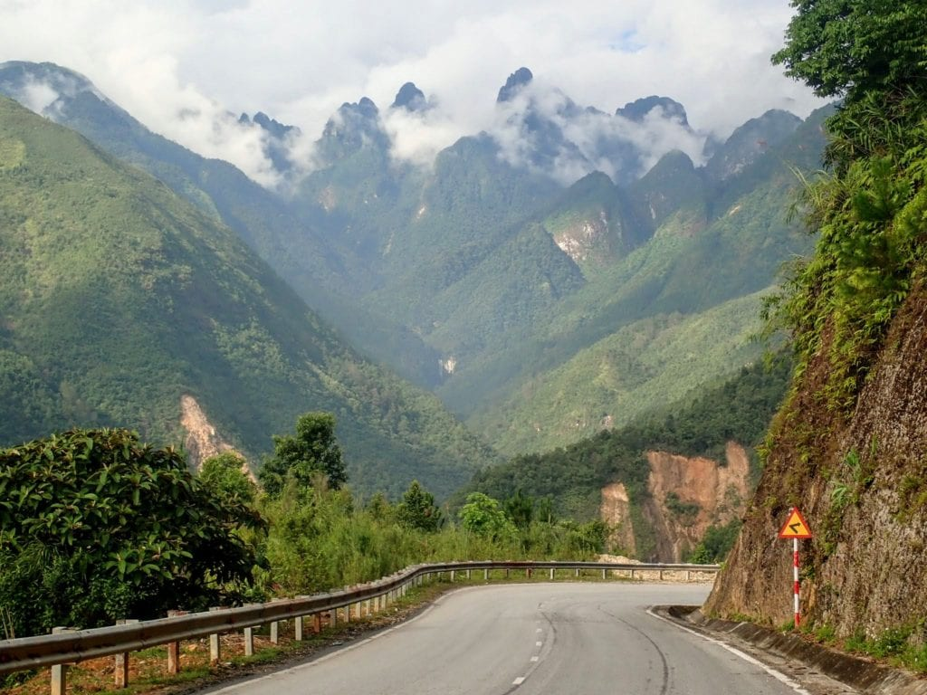 Beautiful mountain road in northern Vietnam