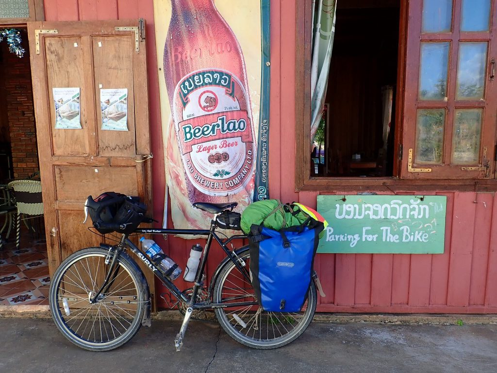 Bicycle parking at restaurant in Laos