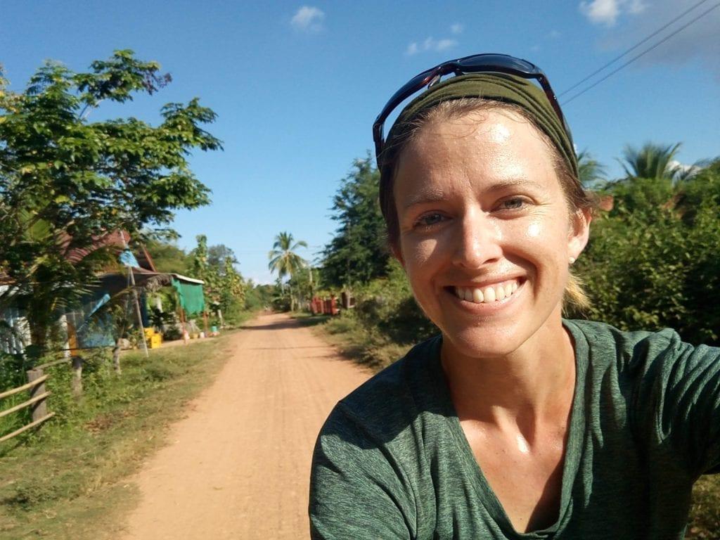 Solo female cyclist in Laos