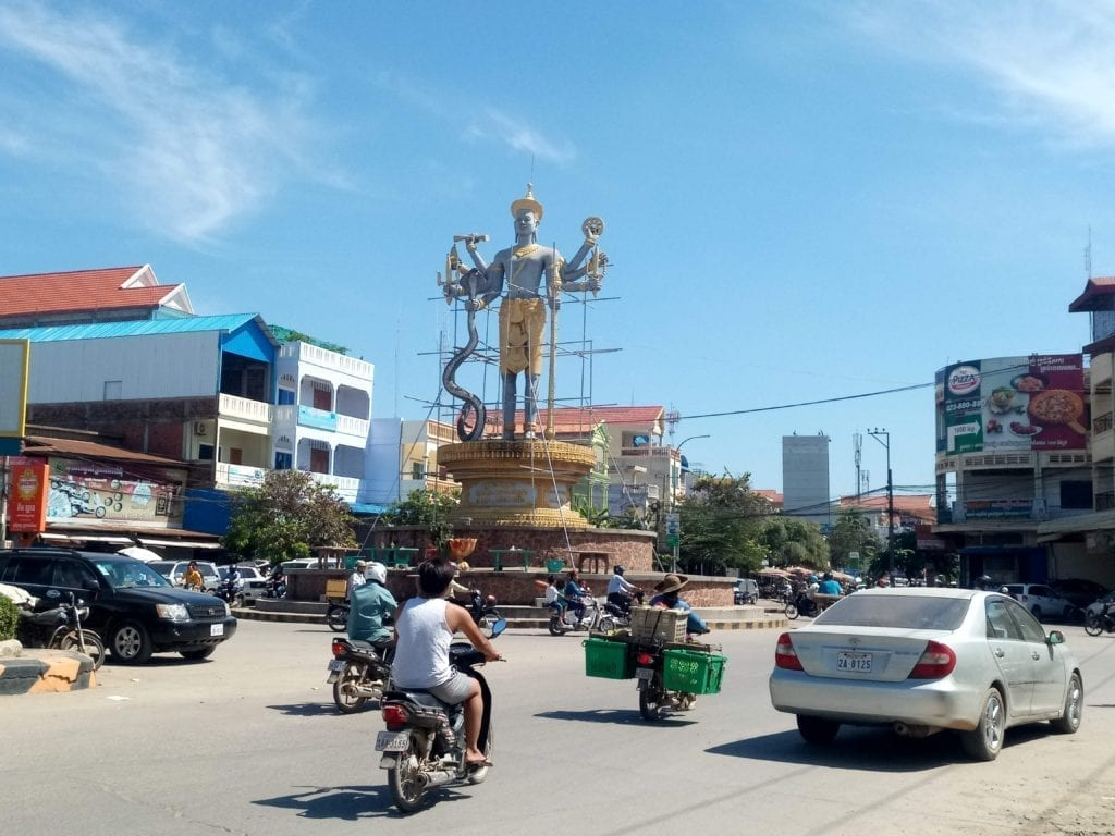 Busy traffic circle in Cambodia