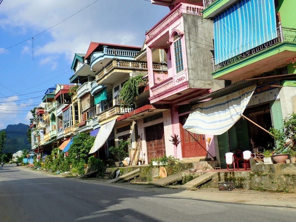 Colorful buildings in Vietnamese town
