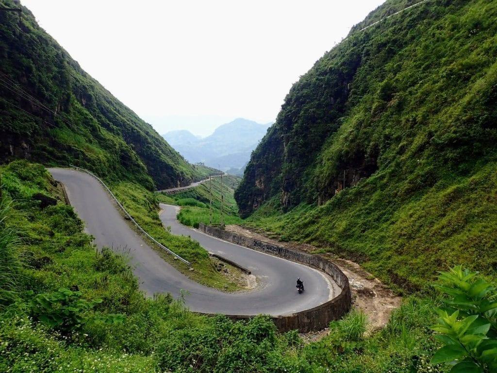 Curvy mountain road in Vietnam