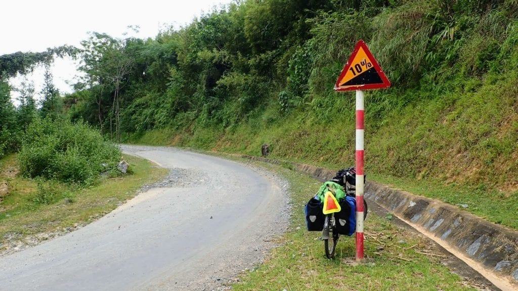 Uphill road sign