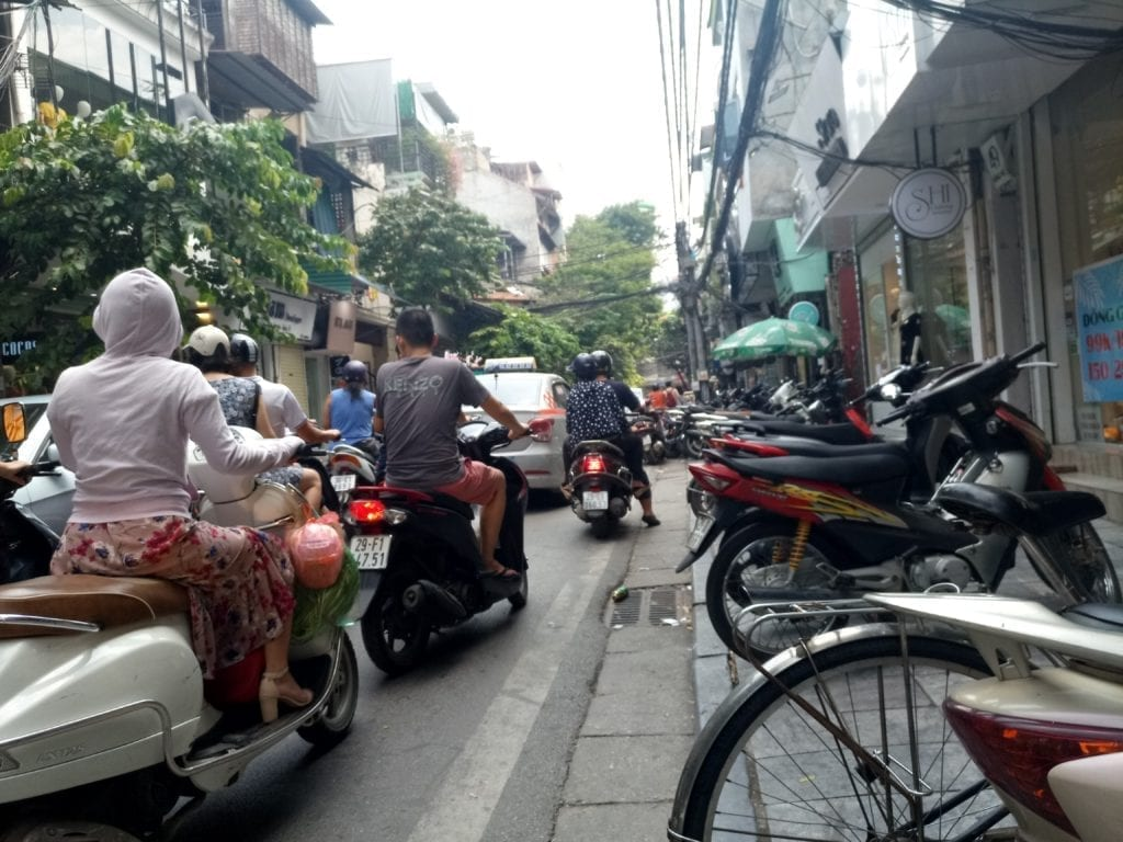 Riding with motorbikes in Hanoi