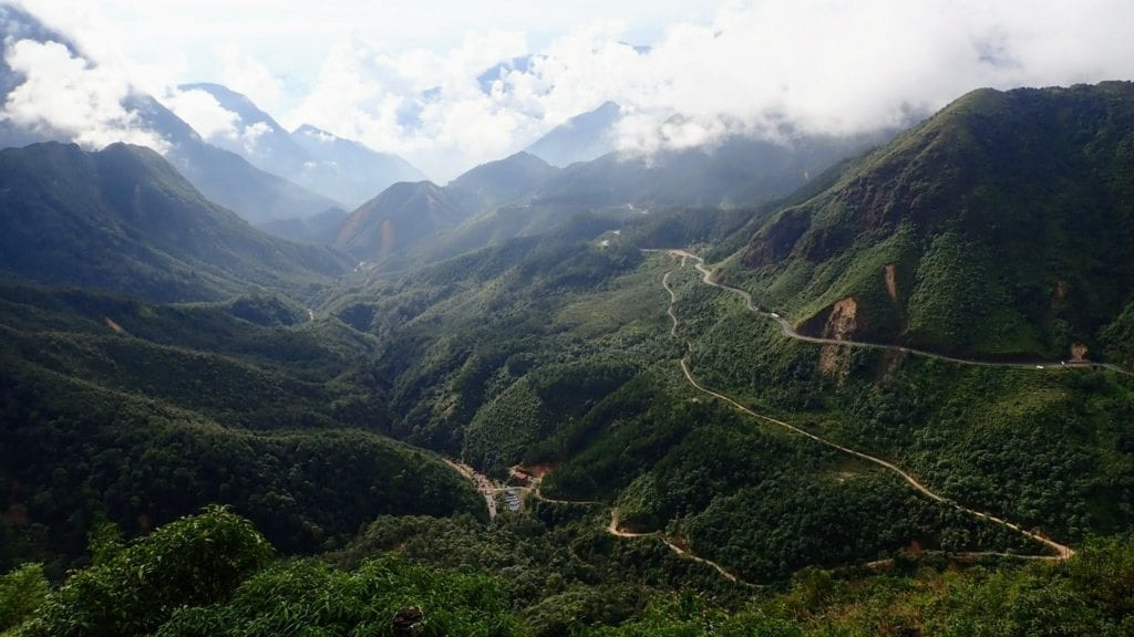 Winding mountain road in Vietnam