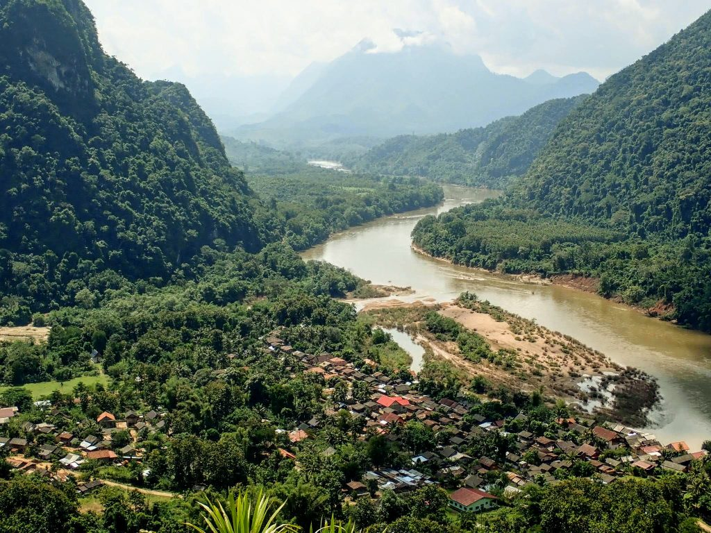 Village and river valley in Laos