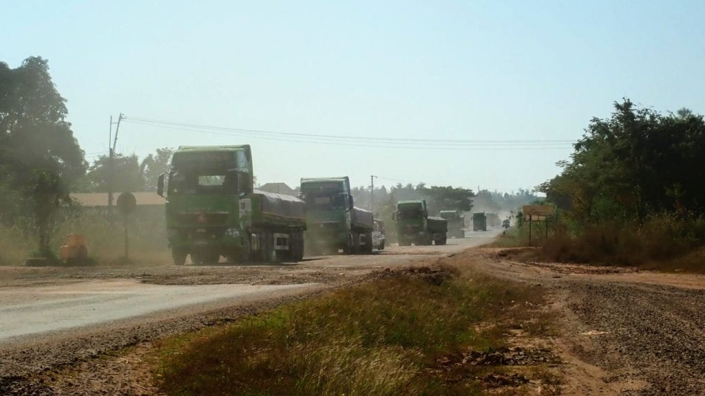 Truck convoy on Laos highway