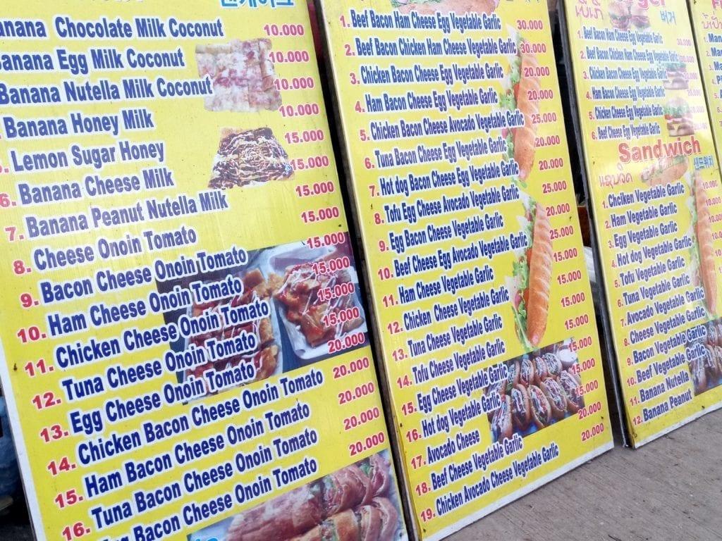 Backpacker food menu in Vang Vieng