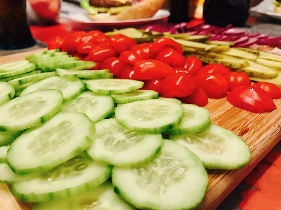 Chopped vegetables cucumbers tomatoes