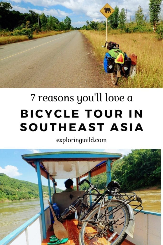 Picture of bike by rural road, and bike in small boat. Text overlay reads '7 reasons you'll love bike touring in Southeast Asia.'