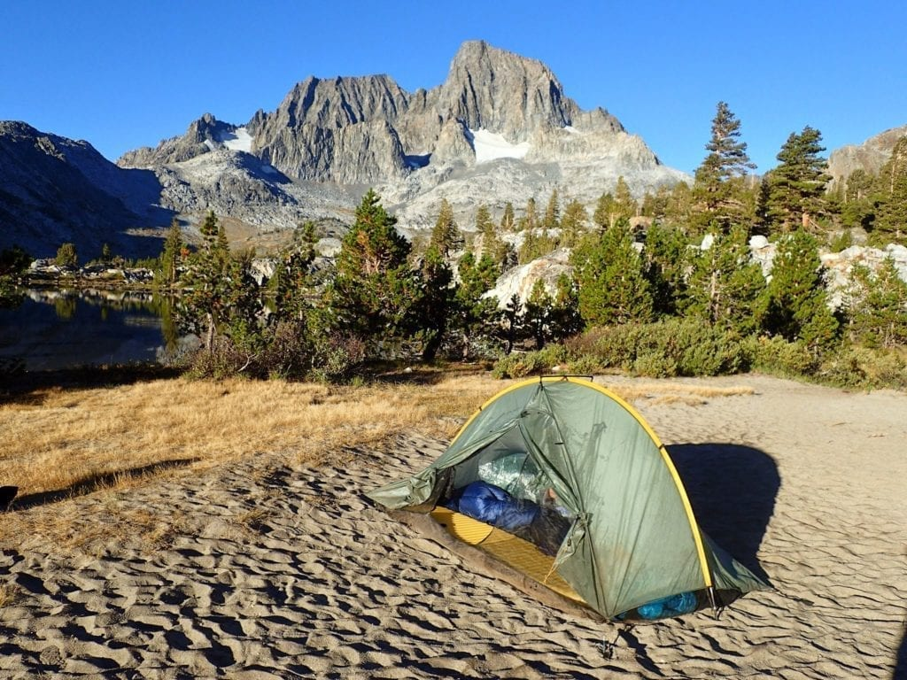 Tent with view of mountains on the John Muir Trail