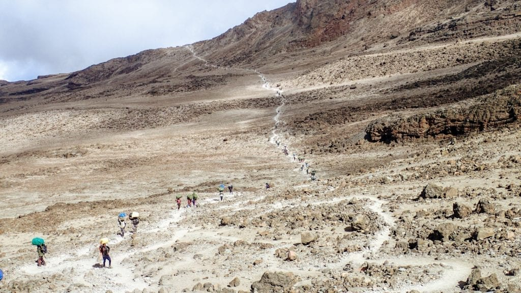 Long line of hikers and porters climbing Mount Kilimanjaro