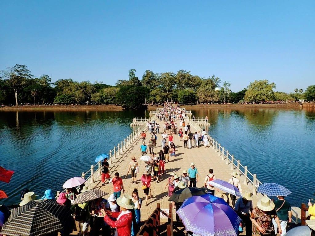 Crowds at entrance to Angkor Wat