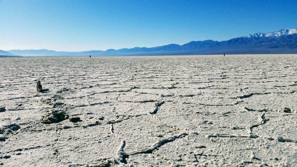 Hiking Badwater Basin salt flats in Death Valley