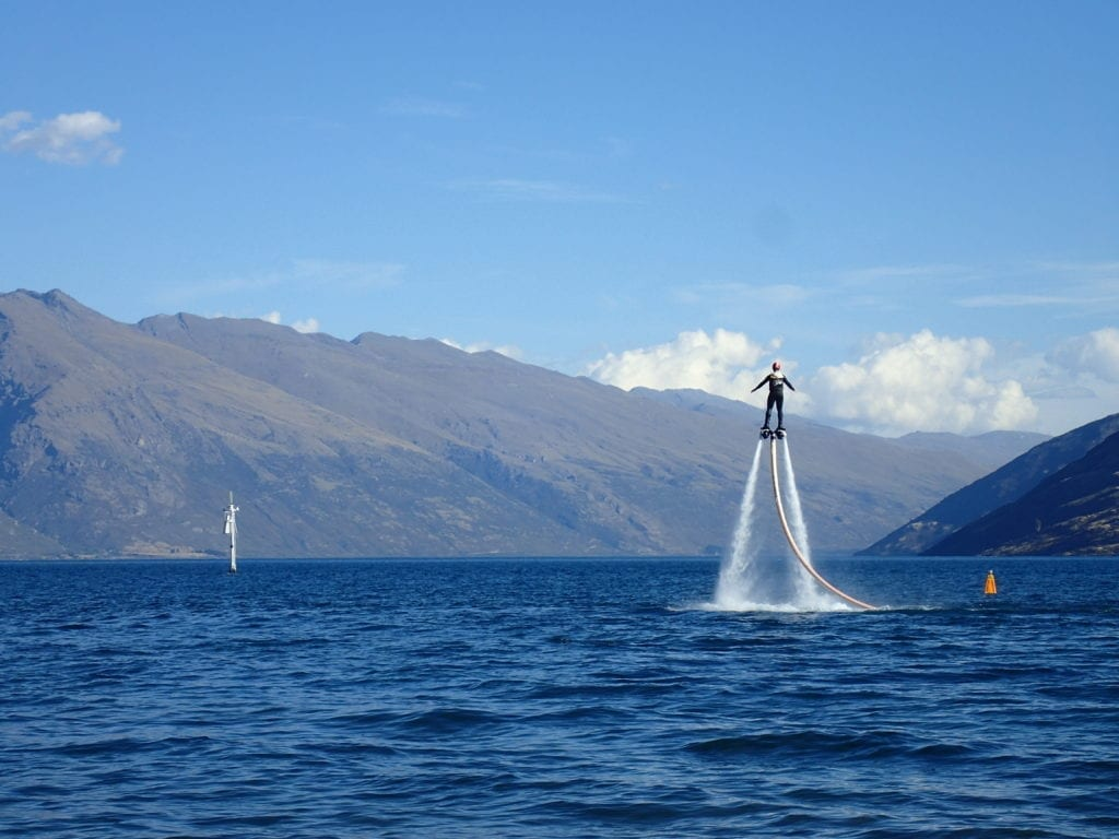 Flyboarding on Lake Wakatipu in Queenstown New Zealand