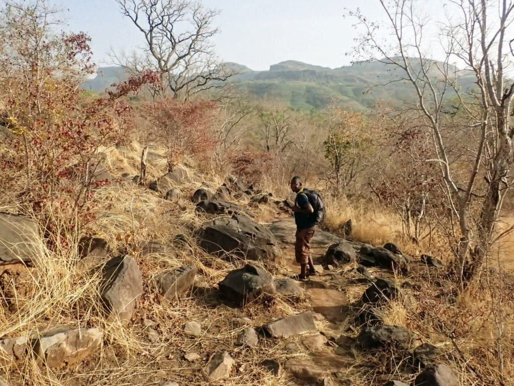 Senegalese trekking guide walks on rocky trail in Guinean highlands