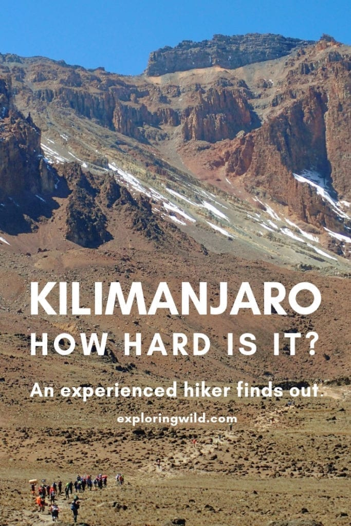 Small group of hikers climbs vast lava field on Kilimanjaro, with text overlay: Kilimanjaro: how hard is it? An experienced hiker finds out.