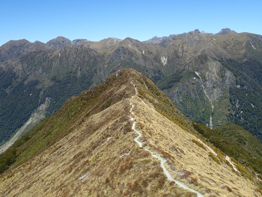 Ridgeline trail in beautiful mountains, south island of New Zealand