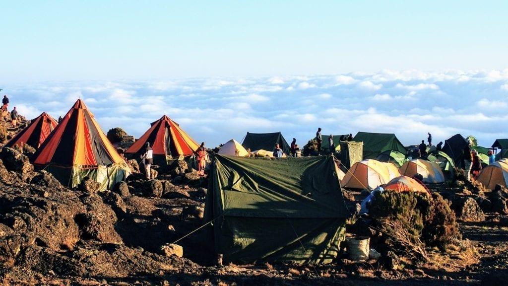 Colorful tent camp on Kilimanjaro