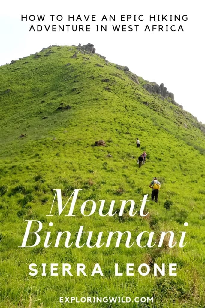 Green  grassy mountain with text overlay: Mount Bintunami Sierra Leone