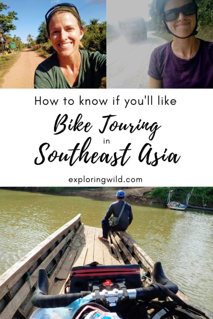 Multiple pictures of cyclists and of a bicycle in small wooden boat. Text overlay reads 'How to know if you'll like bike touring in Southeast Asia.'