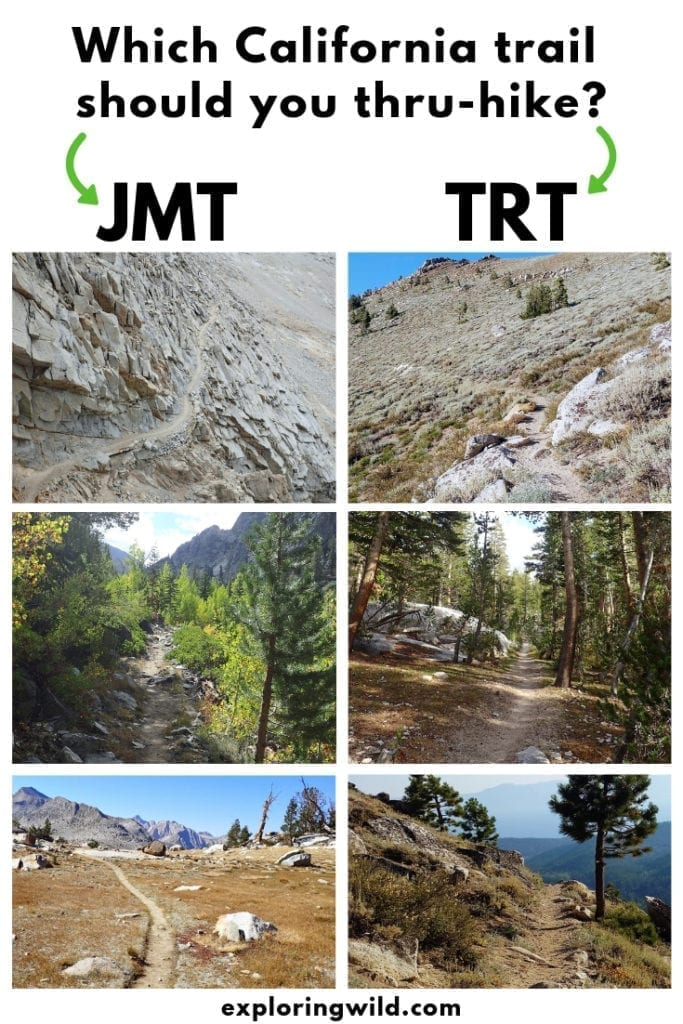 Collection of pictures from John Muir Trail and Tahoe Rim trail, with text overlay: Which California trail should you thru-hike?