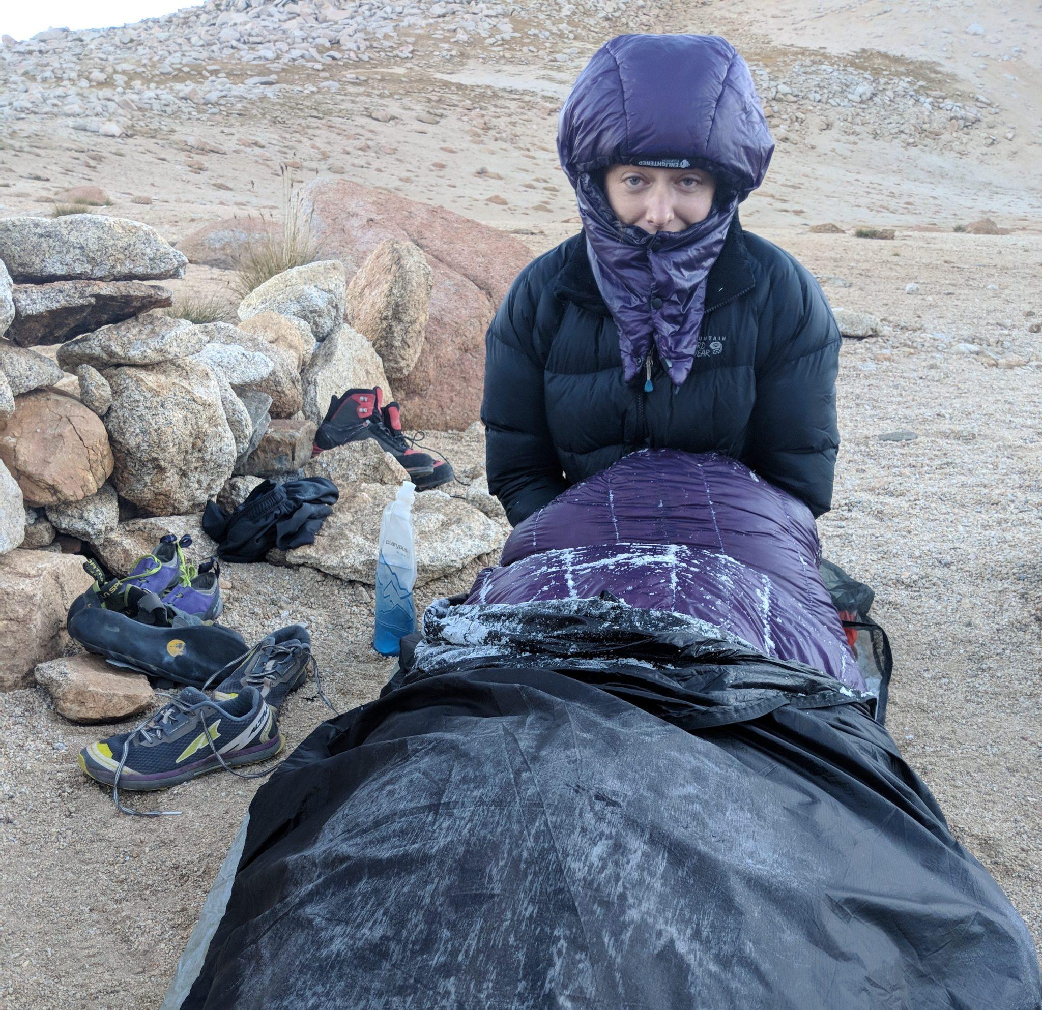 Frost on sleeping quilt near Williamson