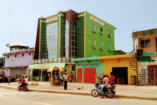 Colorful street in Ganta, Liberia
