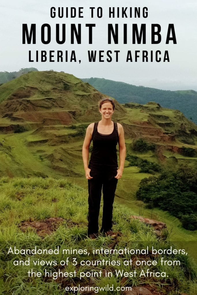 Female hiker on Mount Nimba, Liberia with text overlay: Guide to Hiking Mount Nimba, Liberia West Africa