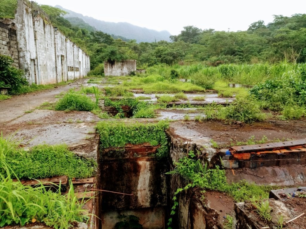 Crumbling concrete mining relics on Mt. Nimba