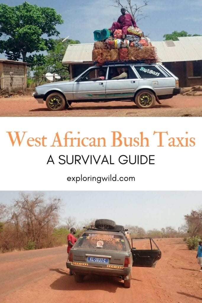 Battered bush taxis, with text overlay: West African Bush Taxis, A Survival Guide