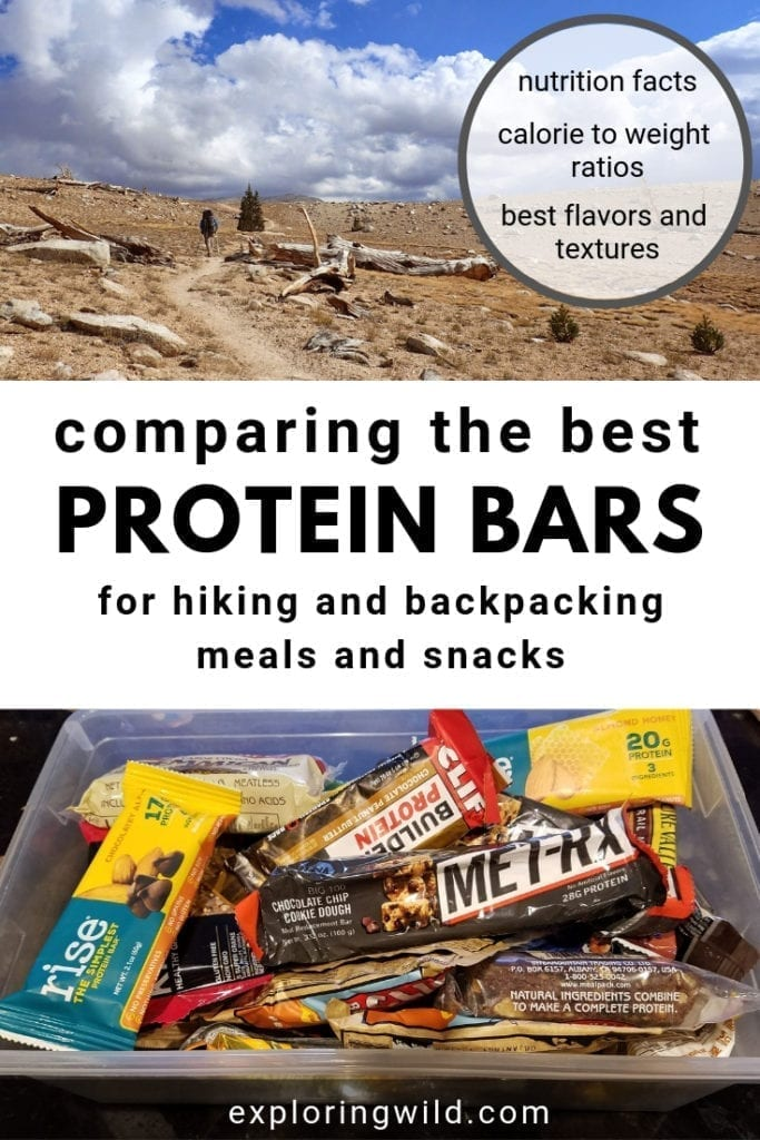 Pictures of trail and a box of protein bars, with text overlay: comparing the best protein bars for hiking and backpacking meals and snacks.