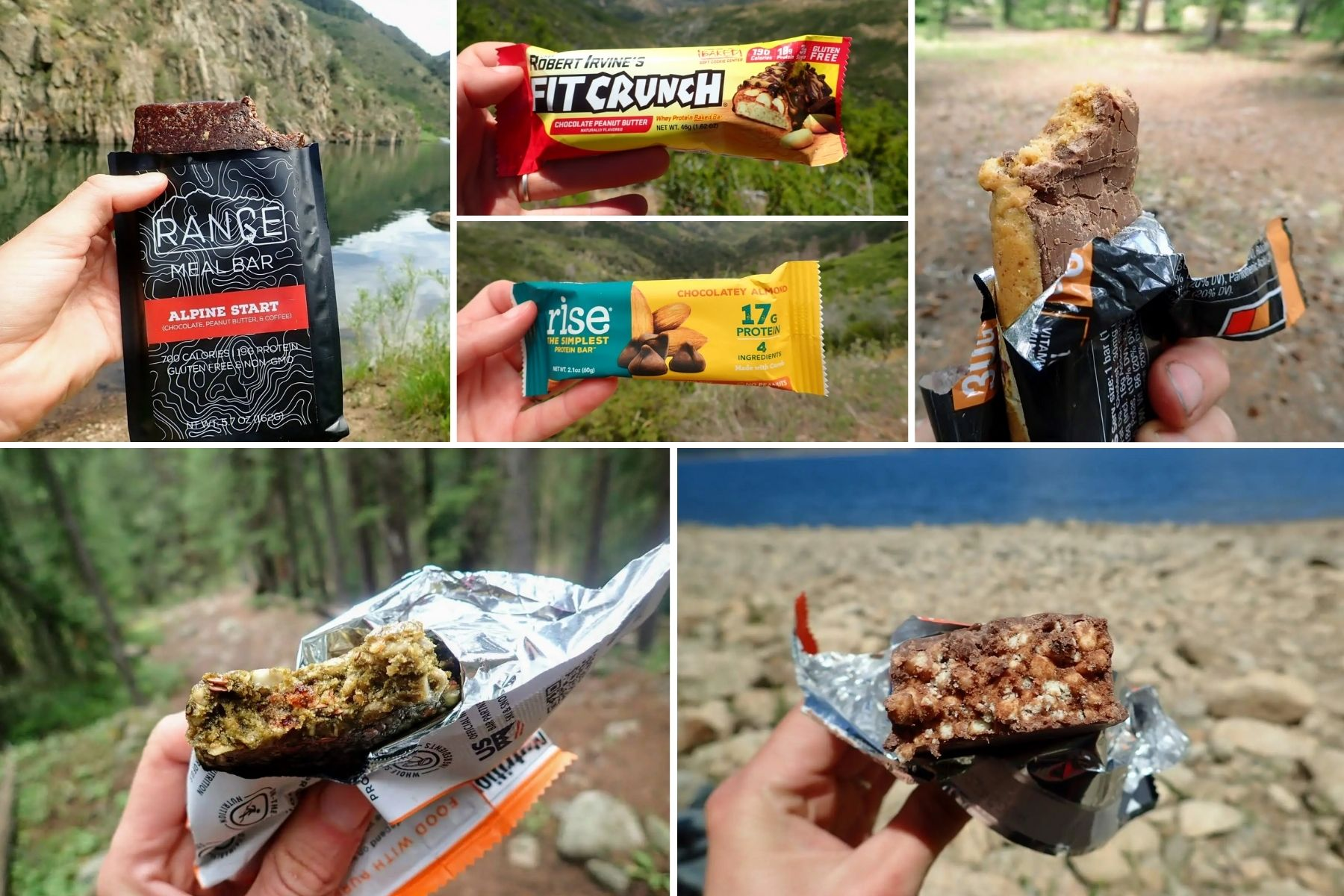 Image collage of high calorie protein bars