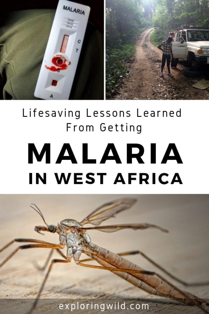 Pictures of a mosquito, a rural dirt road, and a malaria test kit, with text overlay: Lifesaving lessons learned from getting malaria in West Africa.