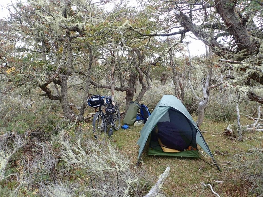 Tent and bicycle at wild campsite in moss-covered trees on Tierra Del Fuego, Patagonia