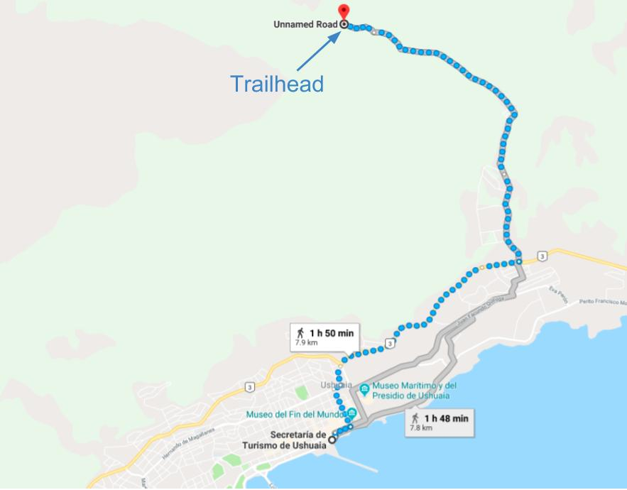 Trailhead location on google maps