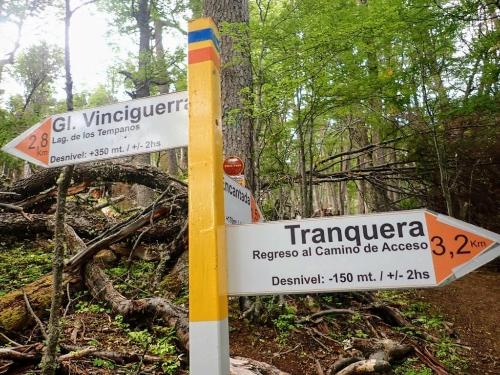 Trail sign at junction between Vinciguerra Glacier and Laguna Encantada trails