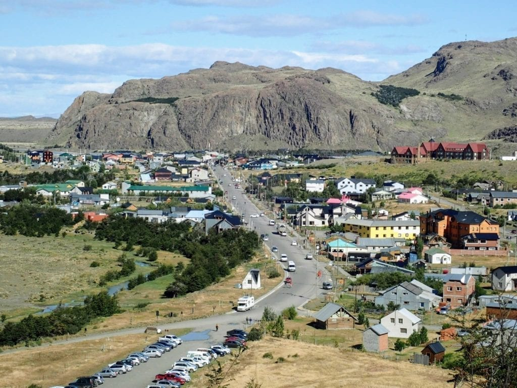 View of main street in El Chaltén Argentina from trailhead just outside of town