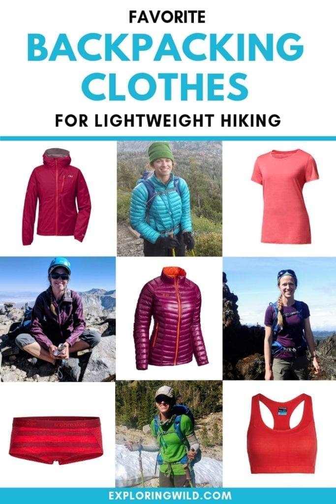 Collage of hikers and hiking clothes with text overlay: favorite backpacking clothes for lightweight hiking