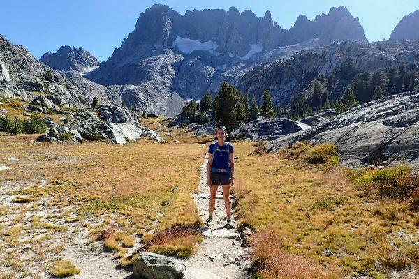 Hiker on alpine trail