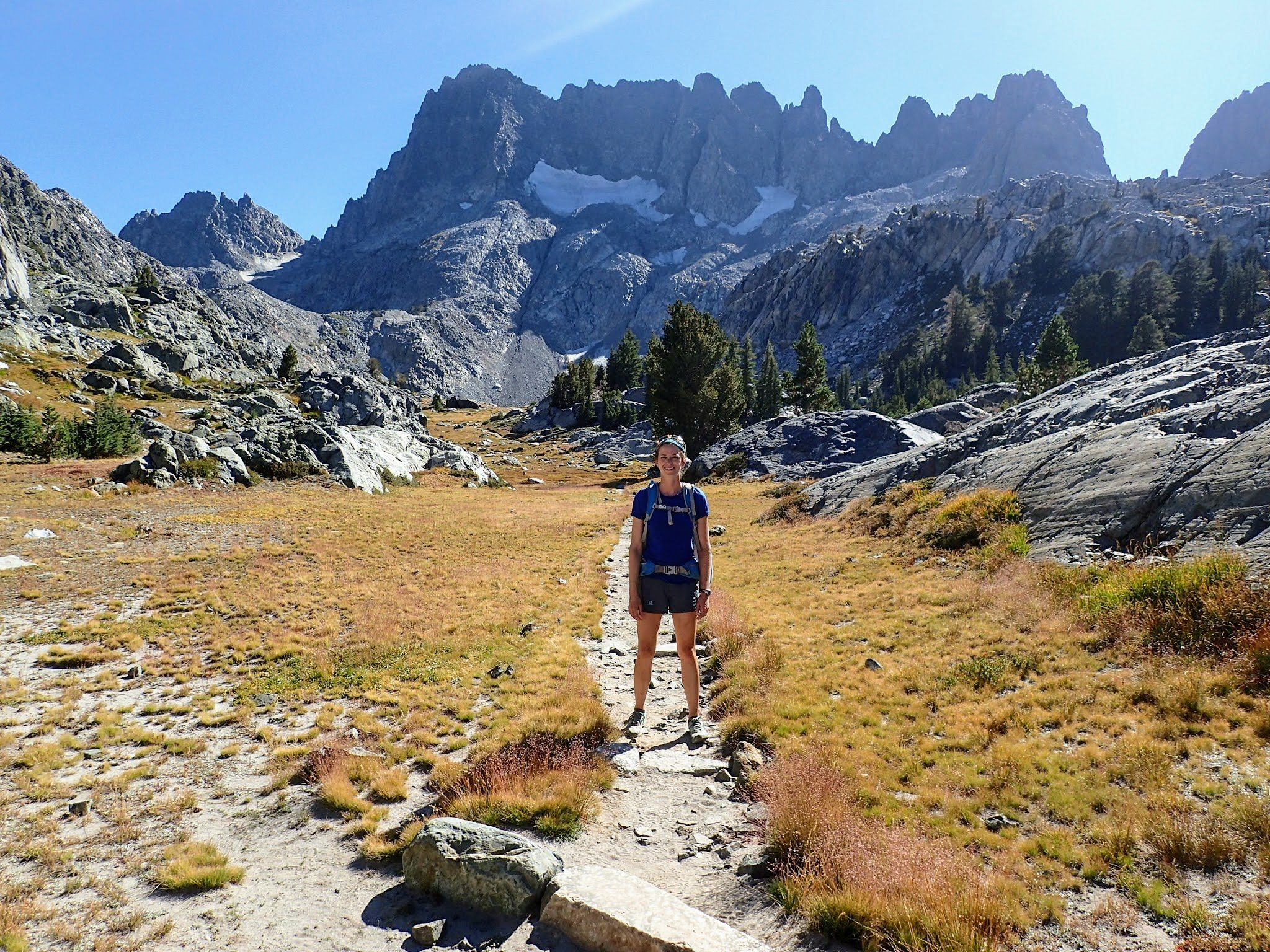 Hiker on alpine trail