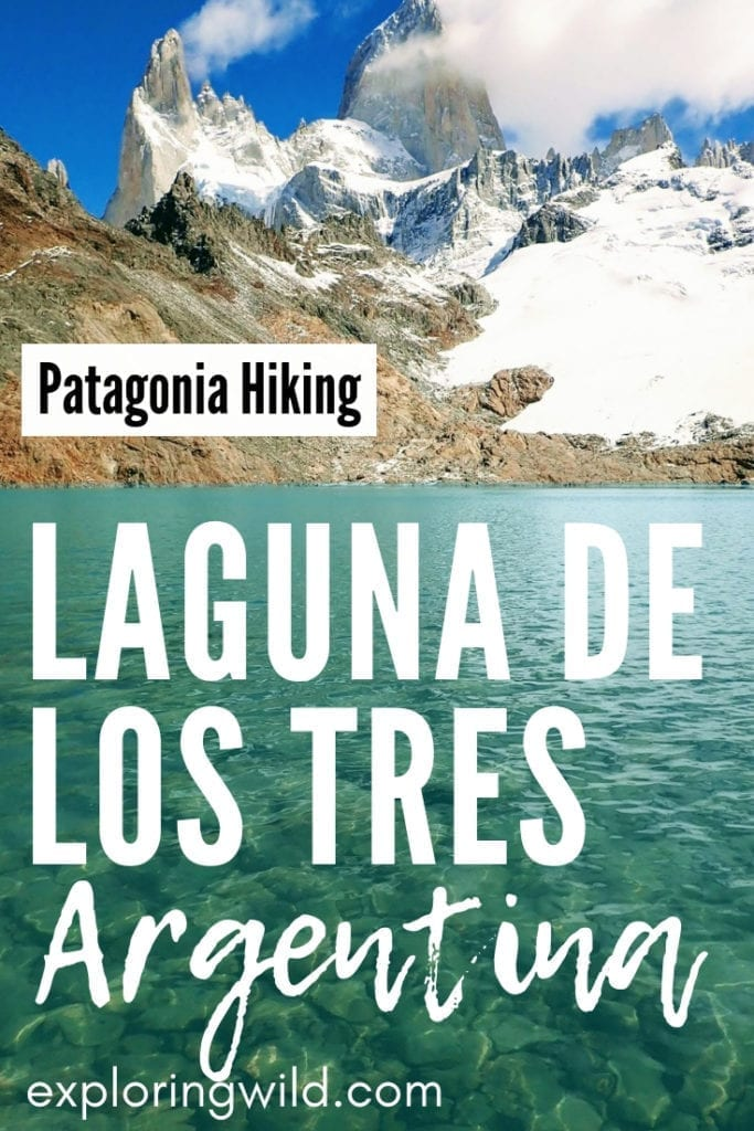 Picture of blue lake with Fitz Roy peak in background, with text overlay: Patagonia Hiking, Laguna de los Tres Argentina