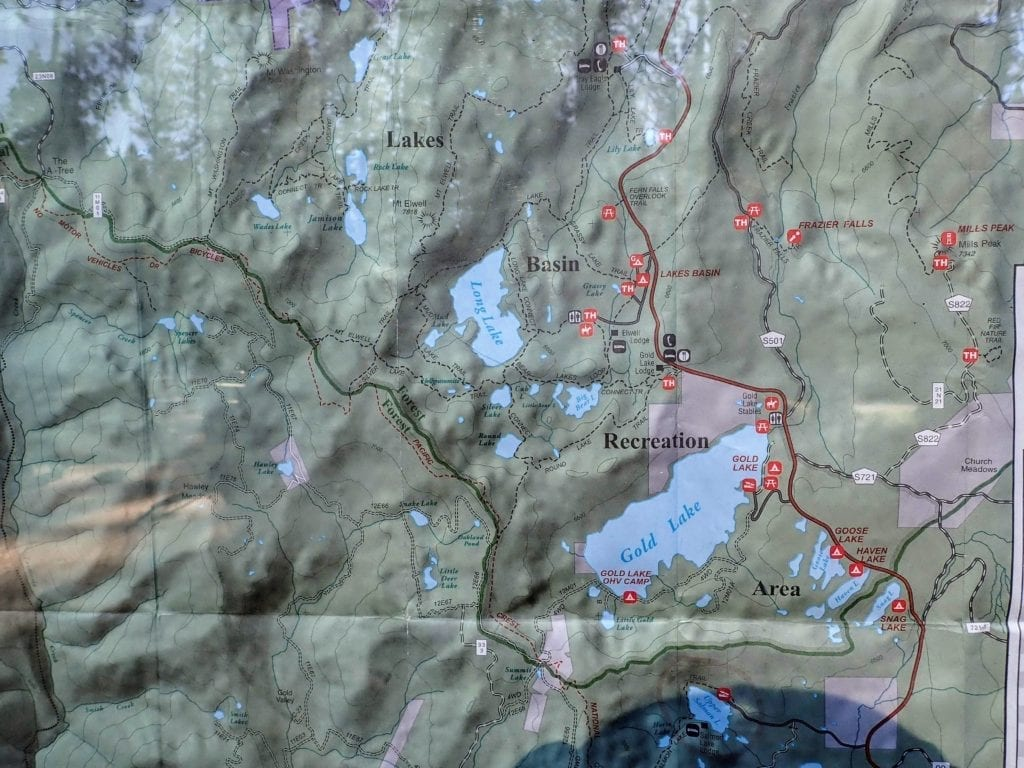 Lakes Basin trail map