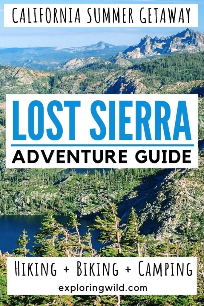 Picture of granite mountain basin and alpine lakes with text overlay: California summer getaway. Lost Sierra Adventure Guide. Hiking, biking, camping.