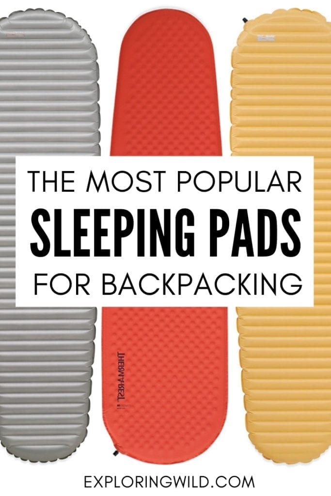 Image of three backpacking sleeping pads with text overlay: The most popular sleeping pads for backpacking