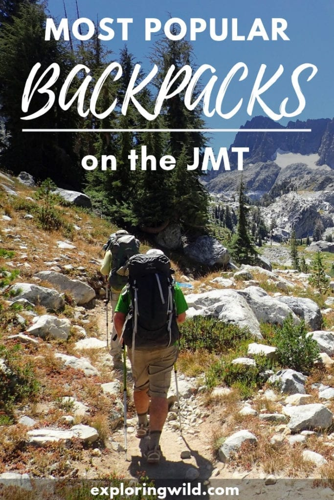 Picture of two hikers walking ahead on the John Muir Trail, with text overlay: Most popular backpacks on the JMT