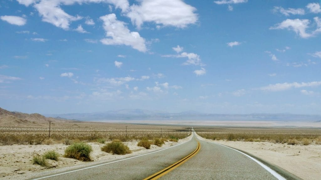 Open road through California desert