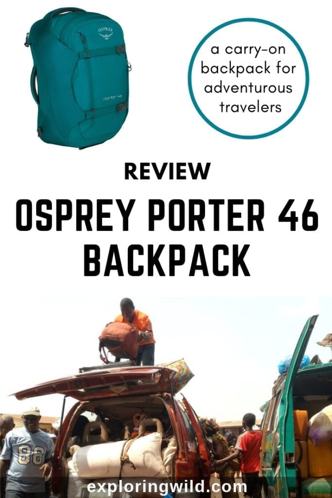 Backpack being loaded on top of car with text overlay: Review: Osprey Porter 46 Backpack, a carry-on backpack for adventurous travelers